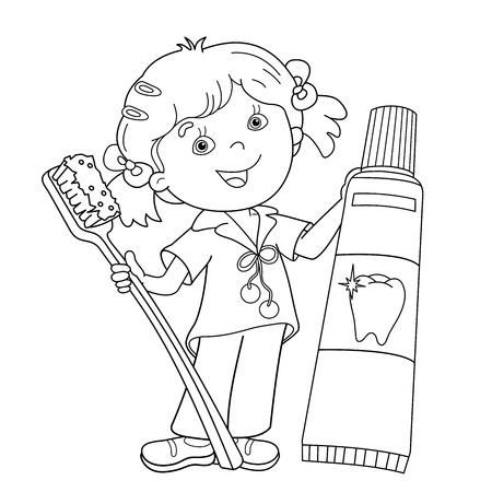 Página Para Colorear Esquema De Niña De Dibujos Animados Con El ...