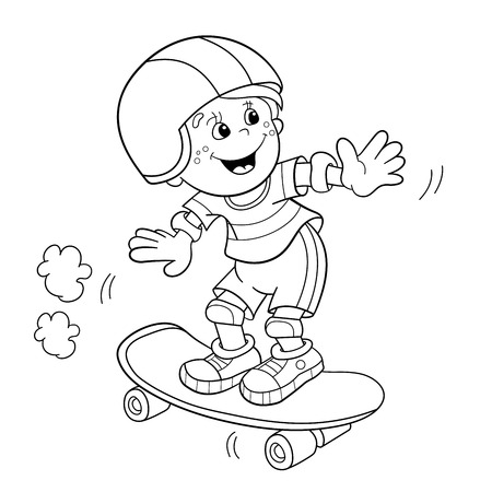 coloring sheet: Coloring Page Outline Of cartoon Boy on the skateboard. Coloring book for kids