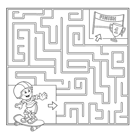Coloring Page Outline Of cartoon Boy on the skateboard. Labyrinth. Puzzle for kids 矢量图像