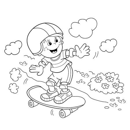 Coloriage Outline Of Boy de bande dessinée sur la planche à roulettes. livre de coloriage pour les enfants
