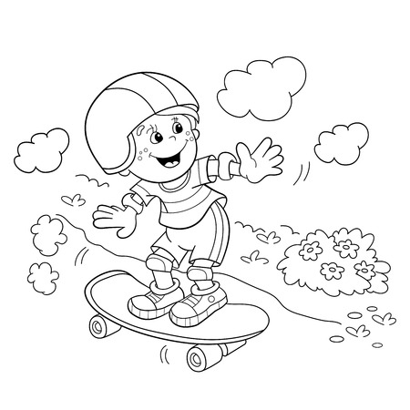 Coloring Page Outline Of cartoon Boy on the skateboard. Coloring book for kids