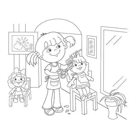 Página Para Colorear Esquema De Niña De Dibujos Animados En Pijamas ...