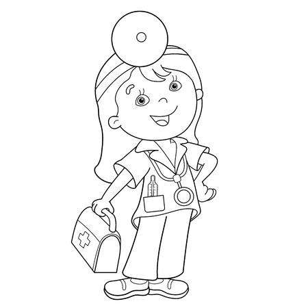 Coloring Page Outline Of cartoon doctor with first aid kit. Profession. Medicine. Coloring book for kids