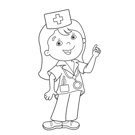profession: Coloring Page Outline Of cartoon doctor. Profession. Medicine. Coloring book for kids Illustration