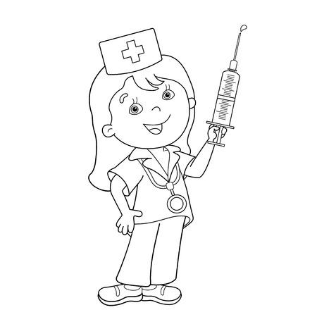 Coloriage Outline de médecin de bande dessinée avec une seringue. Métier. Médicament. livre de coloriage pour les enfants