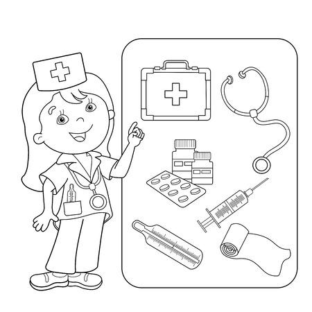 Kleurplaat Overzicht Van cartoon arts met een EHBO-kit. Set van medische instrumenten. Beroep. Geneeskunde. Kleurboek voor kinderen