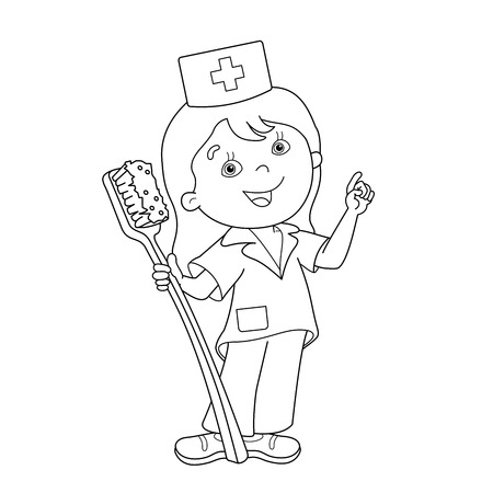 Coloring Page Outline Of Cartoon Girl With Toothbrush. Coloring ...