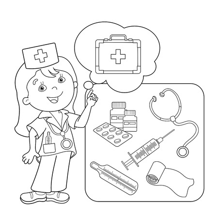 medical instruments: Coloring Page Outline Of cartoon doctor with first aid kit. Set of medical instruments. Profession. Medicine. Coloring book for kids