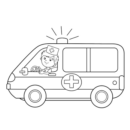Coloring Page Outline Of Cartoon Doctor With Ambulance Car Profession Medicine Book