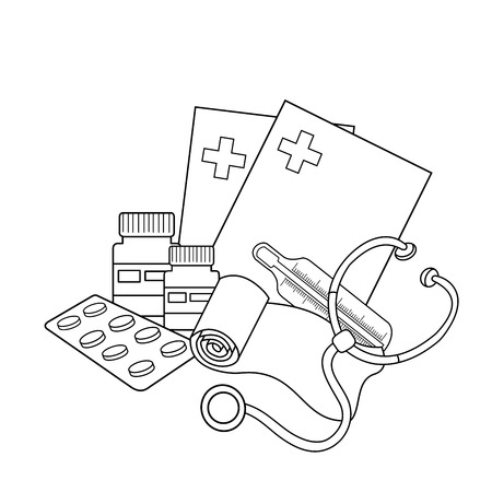 Página Para Colorear Esquema De Instrumentos Médicos. Ilustraciones ...