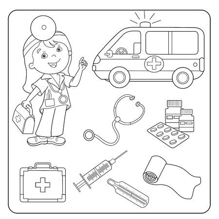 Página Para Colorear Esquema De Dibujos Animados Médico Con El Coche ...