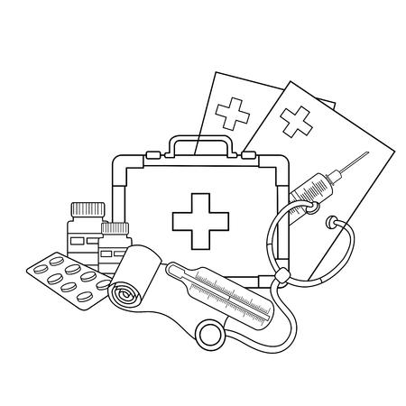 medical instruments: Coloring Page Outline Of  medical instruments. Illustration