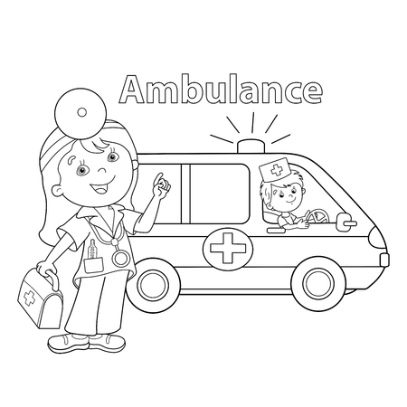 Coloring Page Outline Of cartoon doctor with first aid kit. Ambulance car. Profession. Medicine. Coloring book for kids