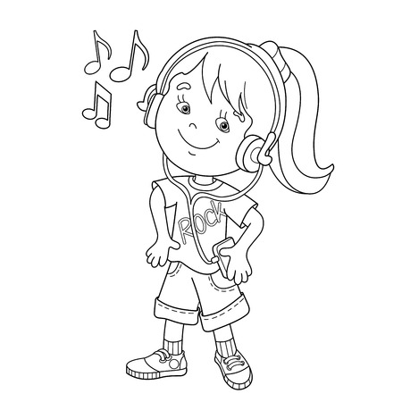 Coloring Page Outline Of cartoon girl in headphones listening to music. Coloring book for kids