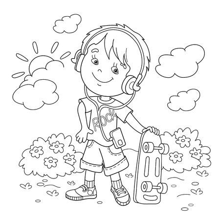 Página Para Colorear Esquema De Dibujos Animados Chica En ...
