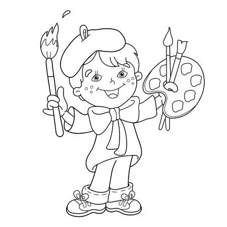 Página Para Colorear Esquema De Niña De Dibujos Animados En Los ...