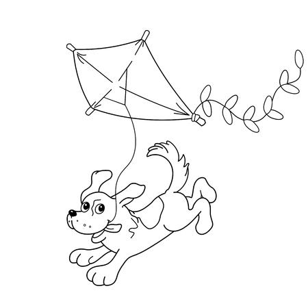 Página Para Colorear Esquema De Perro De Dibujos Animados. Libro De ...