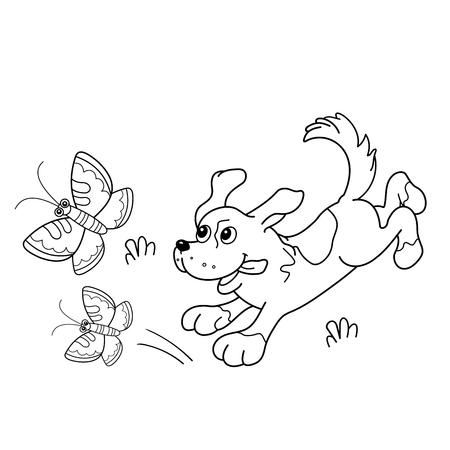 Página para colorear Esquema de perro de dibujos animados con las mariposas. Libro de colorear para niños