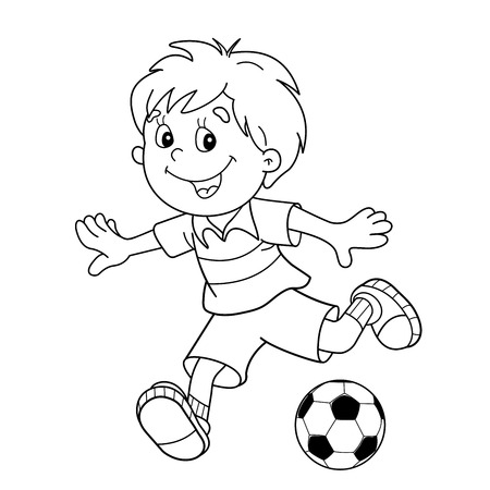 Coloring Page Outline Of cartoon boy with a soccer ball. Football. Coloring book for kids
