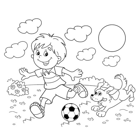 Coloring Page Outline Of cartoon boy with a soccer ball with dog. Football. Coloring book for kids