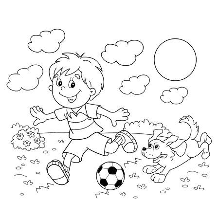 Página Para Colorear Esquema Del Niño De Dibujos Animados Con Un