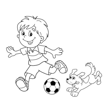 Kleurplaat Pagina overzicht van cartoon jongen met een voetbal met hond. Voetbal. Kleurboek voor kinderen