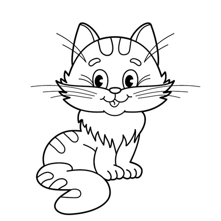 Coloring Page Outline Of Cartoon Fluffy Cat. Coloring Book For ...