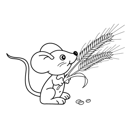 Coloring Page Outline Of cartoon little mouse with spikelets. Coloring book for kids Illustration