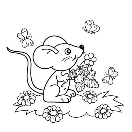 wild berry: Coloring Page Outline Of cartoon little mouse with strawberries in the meadow with butterflies. Coloring book for kids