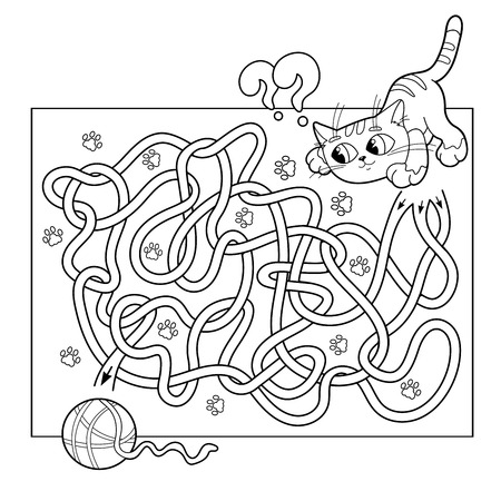found it: Cartoon Vector Illustration of Education Maze or Labyrinth Game for Preschool Children. Puzzle. Tangled Road. Coloring Page Outline Of cat with ball of yarn. Coloring book for kids.