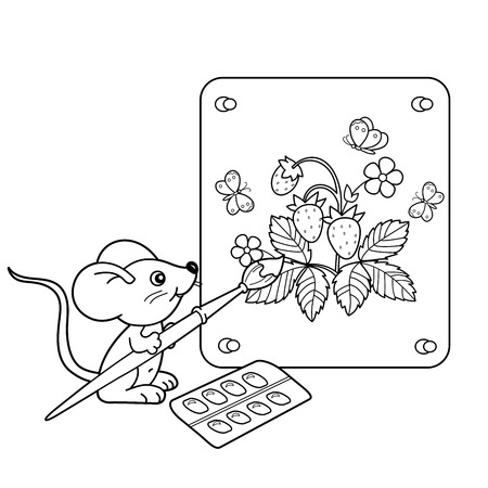 wild berry: Coloring Page Outline Of cartoon little mouse with picture of strawberry with brush and paints. Coloring book for kids Illustration