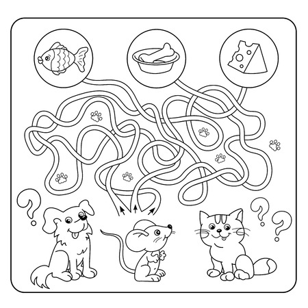found it: Maze or Labyrinth Game for Preschool Children. Puzzle. Tangled Road. Matching Game. Cartoon Animals and their Favorite Food. Coloring book for kids.