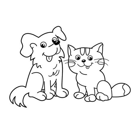Coloriage contour de chat de bande dessinée avec un chien. Animaux domestiques. livre de coloriage pour les enfants