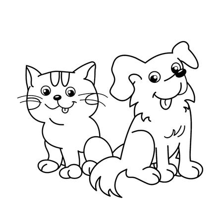 Página Para Colorear Esquema De Gato De Dibujos Animados Con El ...