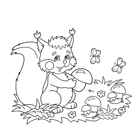Coloring Page Outline Of Cartoon Squirrel With Mushrooms In The