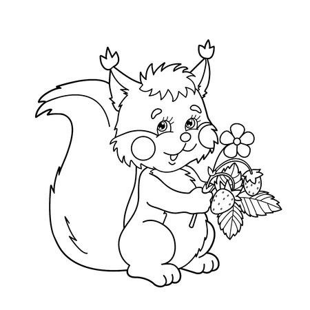Coloring Page Outline Of Cartoon Squirrel With Strawberries ...