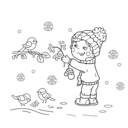 Coloring Page Outline Of Cartoon Boy Feeding Birds Winter Book For Kids Stock