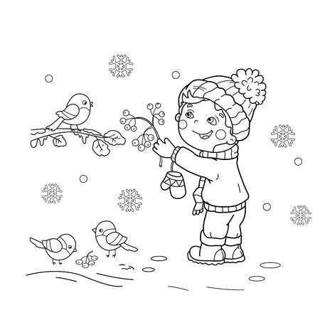 Coloring Seite Umriss Comic-Vögel Im Winter. Vogelfütterer. Gimpel ...