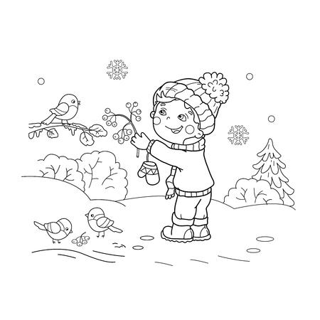 Página Para Colorear Esquema De Pájaros Que Introducen Del Muchacho ...