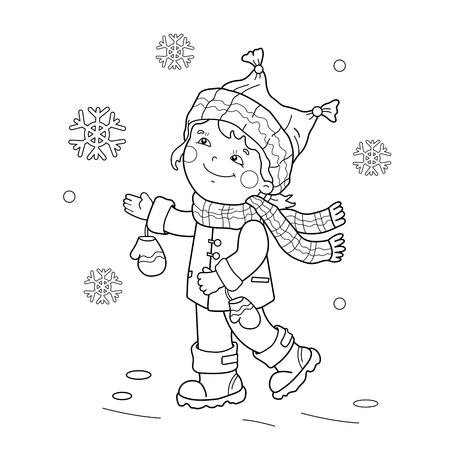 rejoicing: Coloring Page Outline Of cartoon girl rejoicing in the first snow. Winter. Coloring book for kids