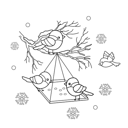 sparrows: Coloring Page Outline Of cartoon birds in the winter. Bird feeder. Bullfinch, titmouse, sparrows. Coloring book for kids Illustration