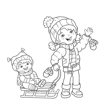 Coloring Page Outline Of Cartoon Boy Jumping For Joy. First Snow ...