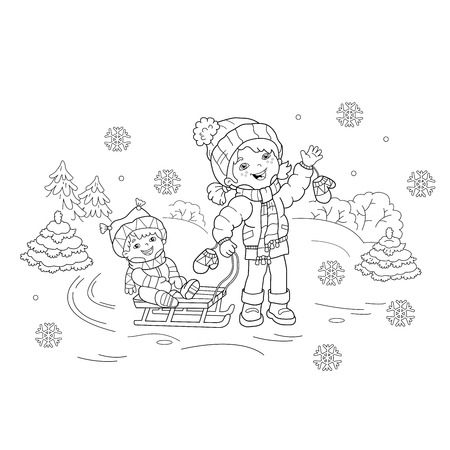 Coloring Page Outline Of cartoon girl with brother sledding. Winter. Coloring book for kids 矢量图像