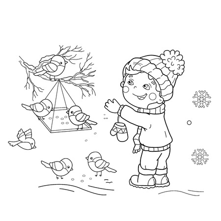 Coloring Page Outline Of Cartoon Boy Feeding Birds Bird Feeder Winter Book