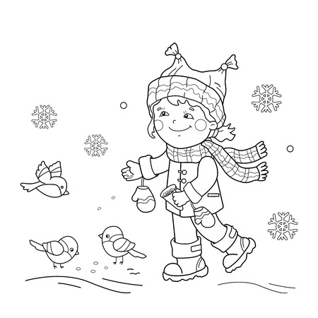 Coloring Page Outline Of Cartoon Girl Feeding Birds Winter Book For Kids Vector