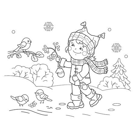 Coloring Page Outline Of Cartoon Boy Feeding Birds Bird Feeder