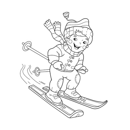 relay: Coloring Page Outline Of cartoon boy riding on skis. Winter sports. Coloring book for kids Illustration