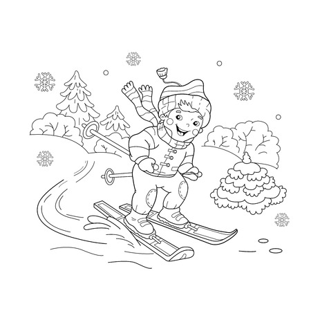 Coloring Page Outline Of cartoon boy riding on skis. Winter sports. Coloring book for kids 矢量图像