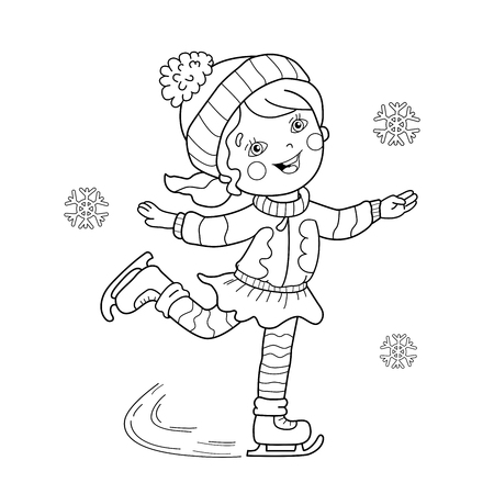 coloring page outline of cartoon girl skating winter sports coloring book for kids vector