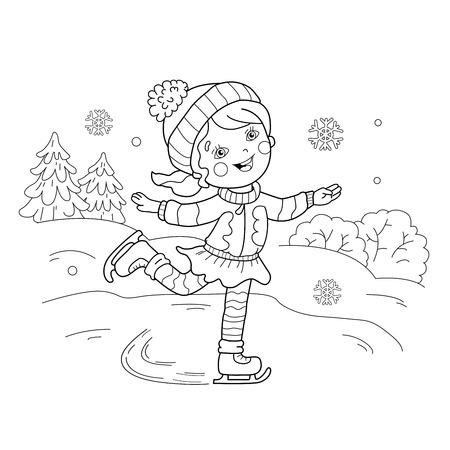 Página Para Colorear Esquema De Patinaje Niña De Dibujos Animados ...